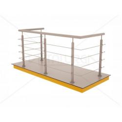 Nerūdijančio plieno balkono turėklas